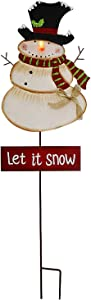 Christmas Snowman Garden Stake Decor Snowman Decoration, Outdoor Metal Yard Sign Lawn Stake LED Battery Operated Christmas Snowman Yard Decor Holiday Decoration for Lawn (Batteries Not Included)