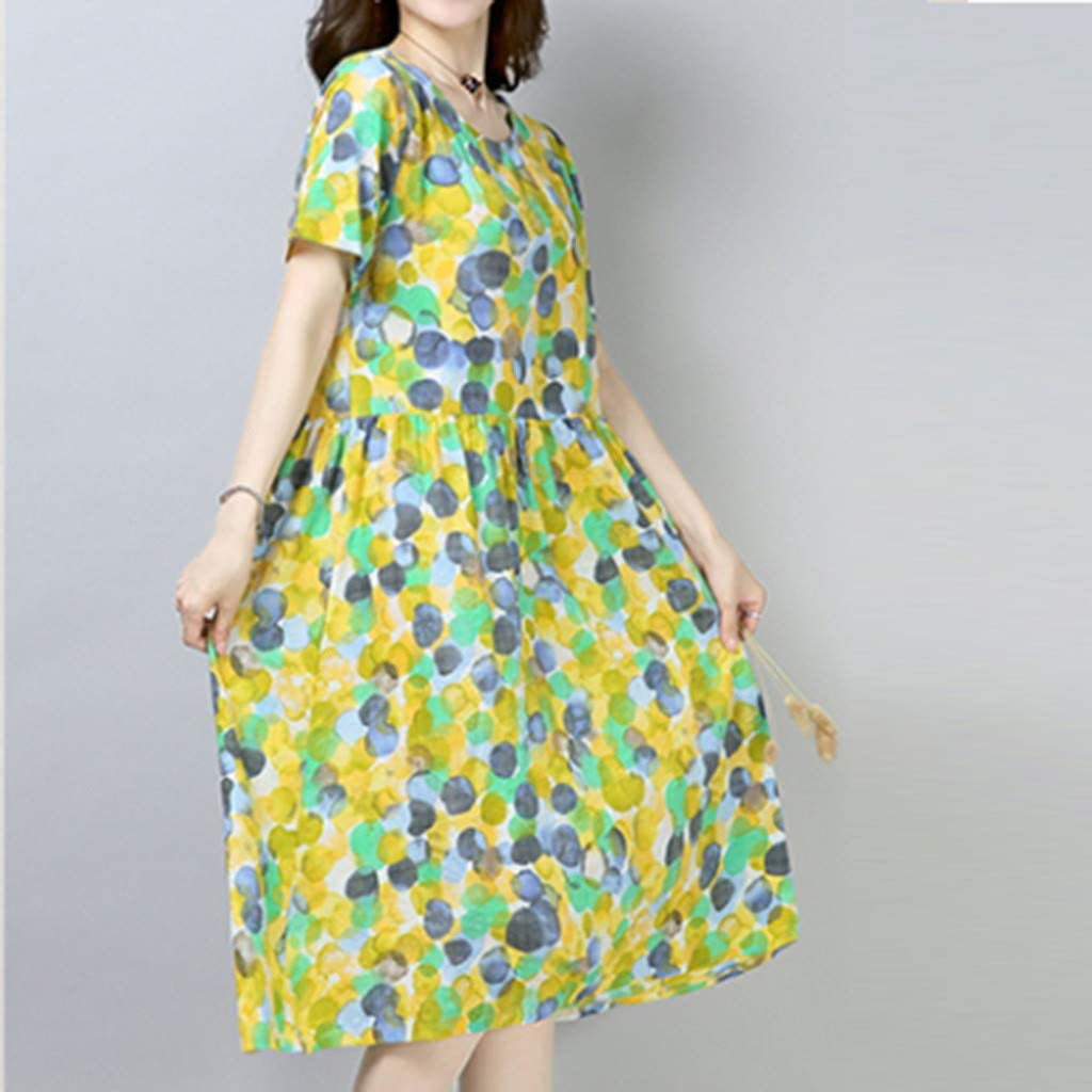 general3 Women Summer Vintage Polka Dot Print Short Sleeve O-Neck Casual Loose Pleated Midi Dress