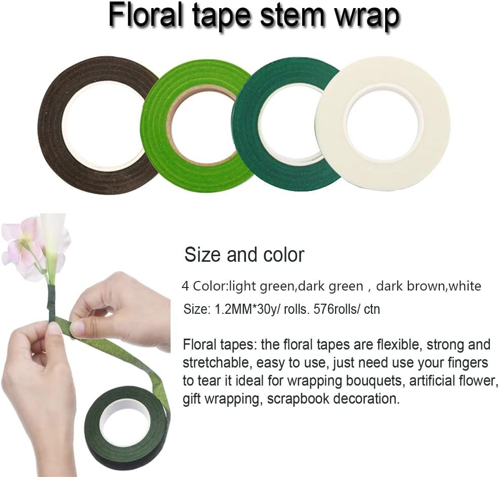 1 Roll of 22 Gauge Floral Paddle Wire and 100 PCS Ball Head Pins for Wedding Bouquet DIY Woohome Floral Arrangement Tool Kit 3 Roll of 1//2 Inch Floral Tapes