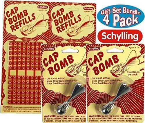 Schylling Classic Retro Metal Cap Bombs & Refills Gift Set Bundle - 4 Pack (2 Cap Bombs & 2 Refills) (Rings Cap)
