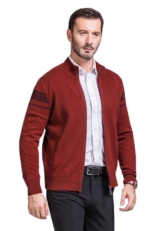 UNbox Mens Cashmere Wool Winter Jumper Christmas Zip Knitted Cardigan Sweater Deep Orange XL