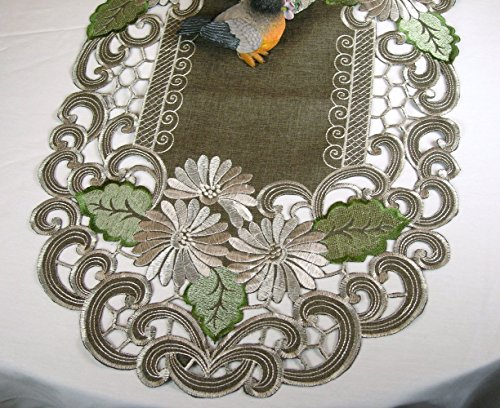Embroidered Runner Flowers Machine Washable