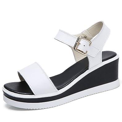 1197f94ace Womens Platform Wedge Sandals Adjustable Buckle Strap Open Toe Slide On  Ankle Strap Summer Shoes White
