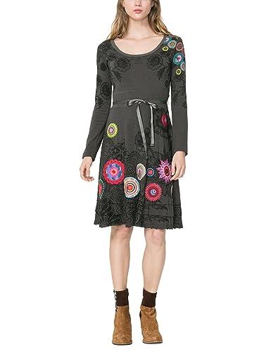 Desigual VEST_NEWA, Vestito Donna, Grigio (Gris Alquitran), 34 cm (Taglia Produttore: S)