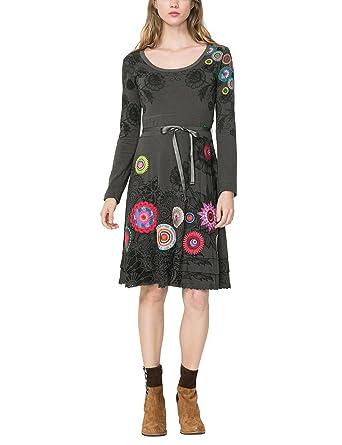 Desigual Damen Kleid Vest NEWA, Grau (GRIS ALQUITRAN 2022), 32  (Herstellergröße  d8e46c7a8f
