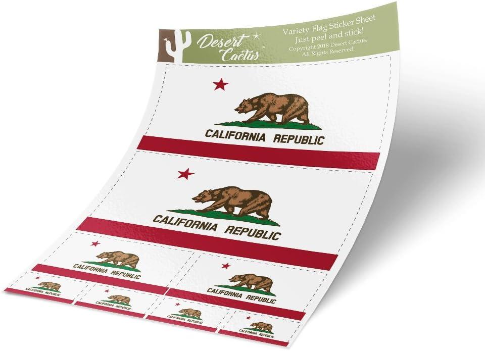 California CA State Flag Sticker Decal Variety Size Pack 8 Total Pieces Kids Logo Scrapbook Car Vinyl Window Bumper Laptop Californian V