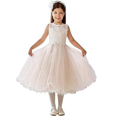 f2bcc72128ccb Fille Fête Robe Fleur Tulle sans Manches Robes Enfant Ceremonie  Anniversaire Mariage Demoiselle d honneur Soirée Princessee Robe   Amazon.fr  Vêtements et ...
