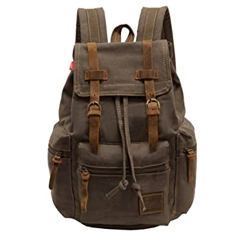 Amazon.com: PianPian Canvas Unisex Backpack Rucksack Knapsack Daypack School Bag 28x16x42cm - Army Green: Computers & Accessories