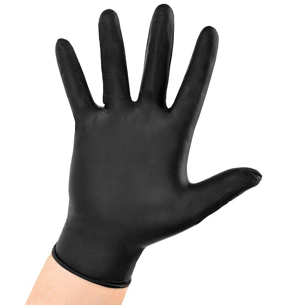 AURELIA BOLD Black Nitrile Powder Free Gloves Small Box 0f 100 4.5mil Thickness 73996