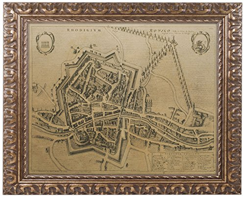 picture of Trademark Fine Art Map of Rovigo 1704 by Pierre Mortier, 11 by 14-Inch, Gold Ornate Frame