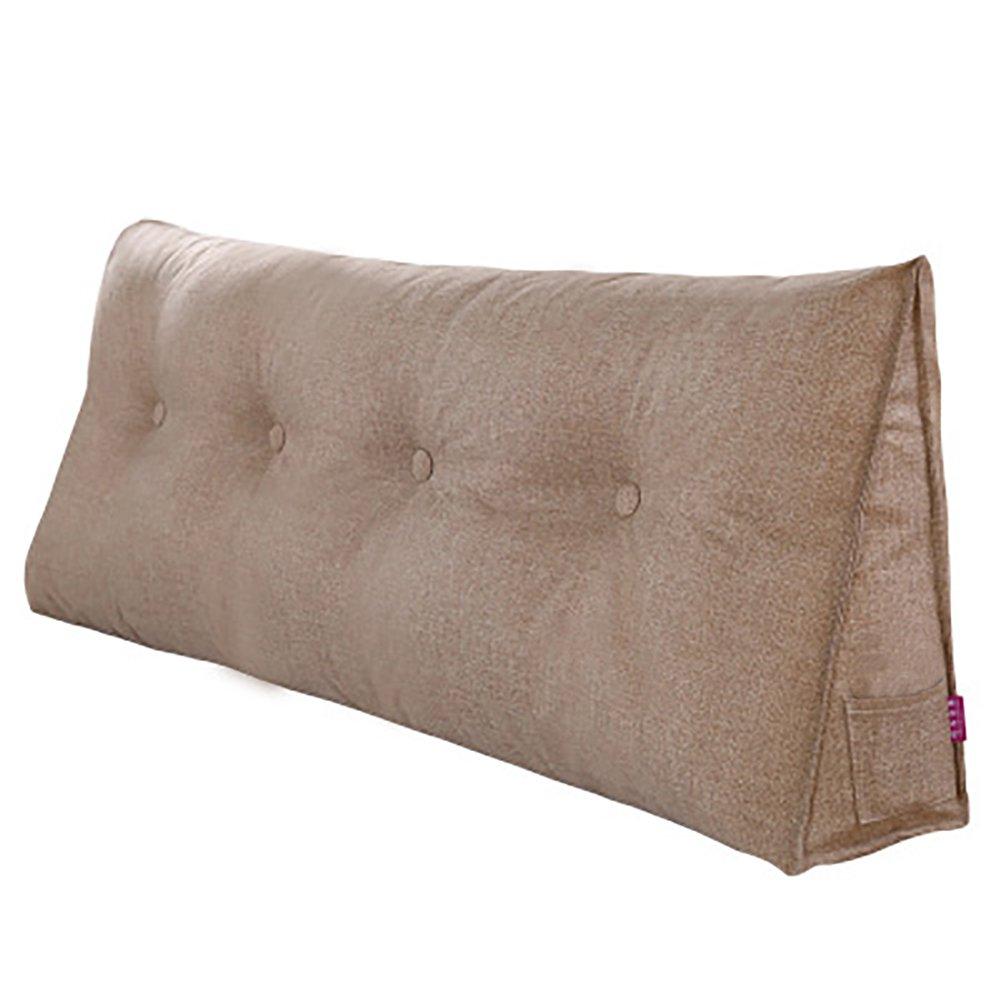 VERCART Kissen Rückenkissen Lesen Nackenrolle Wedge Pillow Hals für Sofa Bett Rückenlehne Baumwolle und Leinen Flachsfarbig 180CM