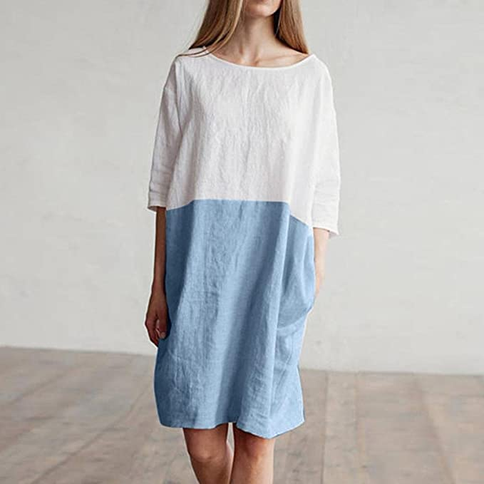 Mimfor Women Casual Patchwork 1//2 Sleeved Cotton Linen Loose Pockets Tunic Dress