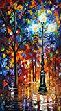 100% Hand Painted Oil Paintings Modern Abstract Oil Painting on Canvas Street Lamp Home Wall Decor (20X36 Inch, Oil Painting 7)