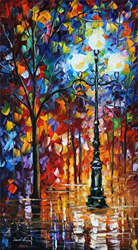 100% Hand Painted Oil Paintings Modern Abstract Oil Painting on Canvas Street Lamp Home Wall Decor (20X36 Inch, Oil Painting 7) by Bingo Arts