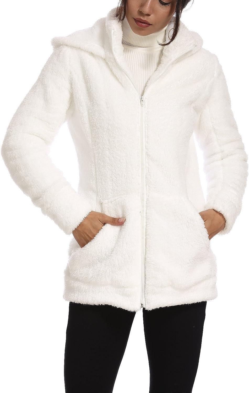 VILIER Damen Kapuzenpullover aus weichem Teddy-Fleece, Taupe Weiß