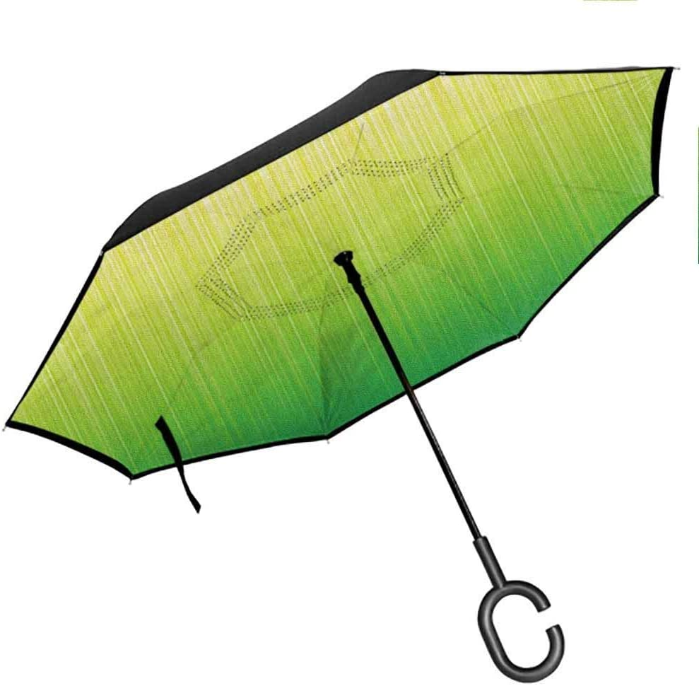 Lime Green Horizontal Stripes Simplistic Double Layer Inverted Reverse Windproof Folding Umbrellas for Car Outdoor with C-Shaped Handle 42.5x31.5Inch