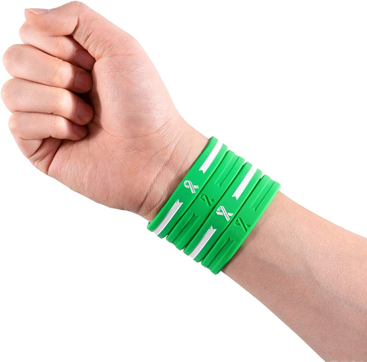 Sainstone 4-Pack Green Awareness Ribbon Silicone Bracelets Friends Cancer /& Cause Rubber Wristbands Gift for Men Women for Patients Mental Health Awareness Bracelet Family Survivors