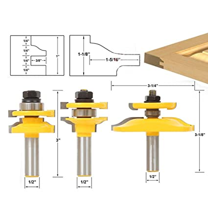Agyvvt Shaker 3 Bit Cabinet Door Router Bit Set 12 Shank