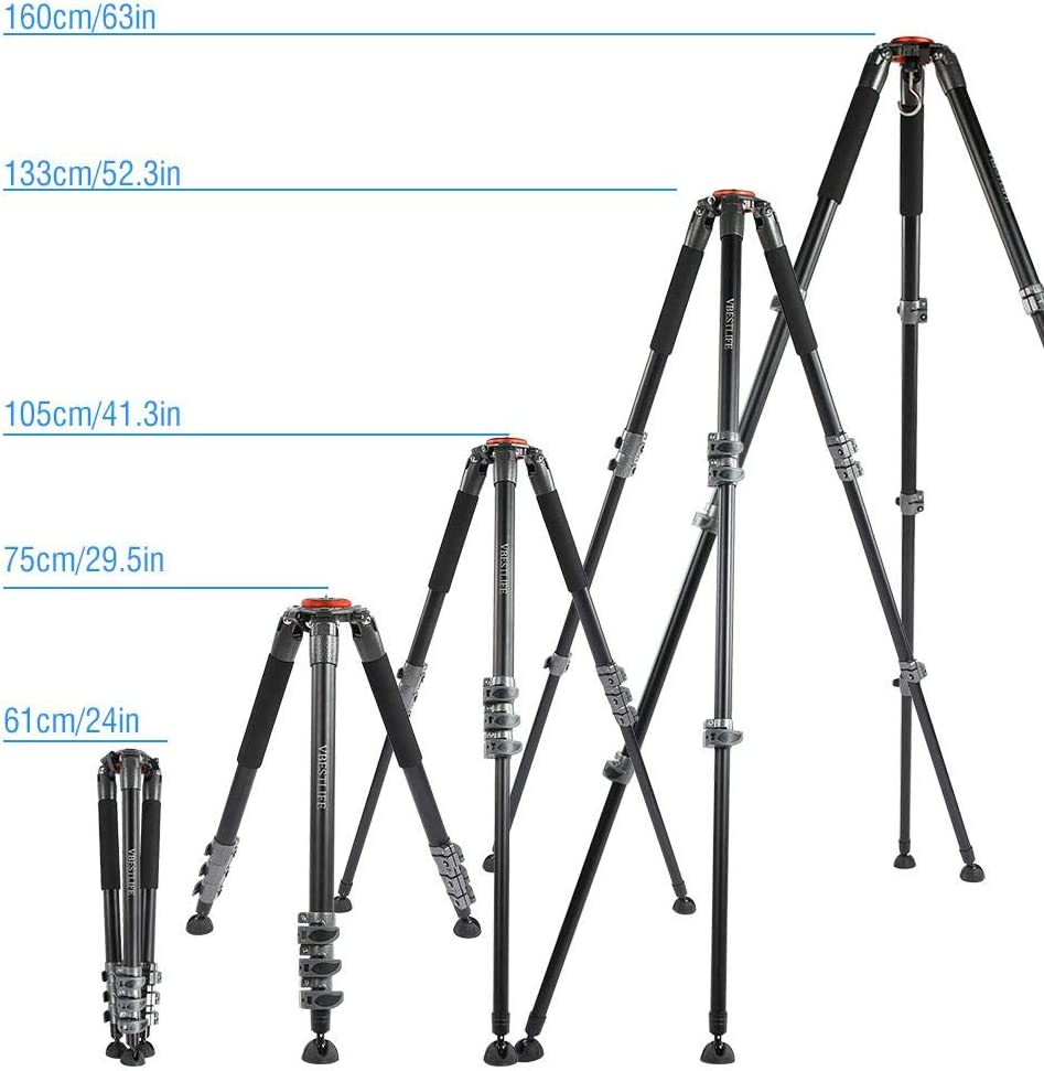 Mugast Professional Telescopic Tripod,Portable Aluminum Alloy Photography Pan Head Mount Tripod with Between 1//4 and 3//8 Screws for DSLR Cameras