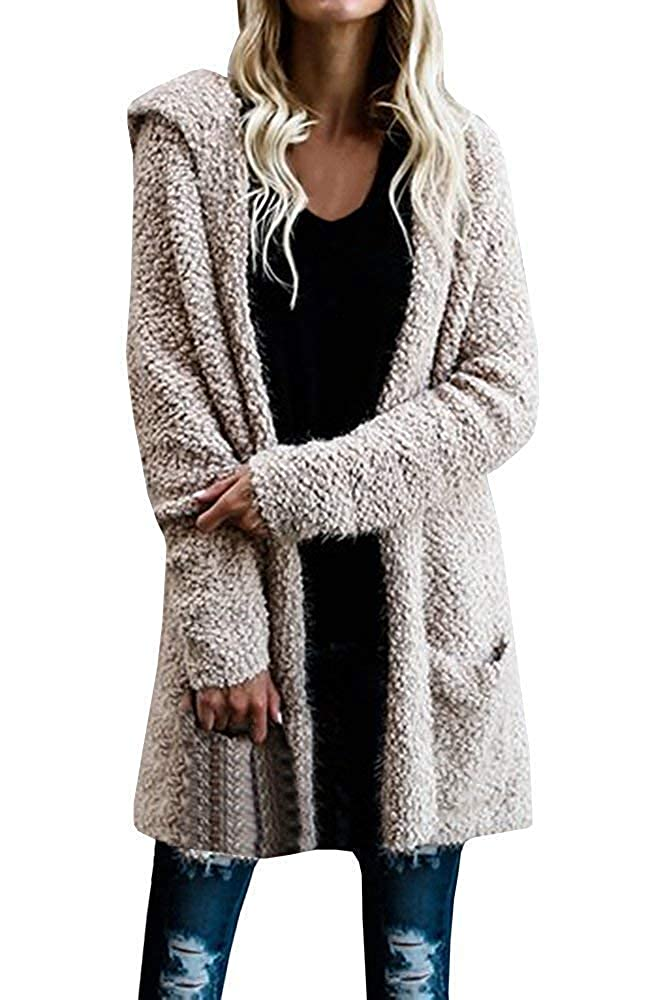 Brown Cloudless Womens Long Hooded Cardigans Fall Pockets Knit Plain Sweaters Outwear