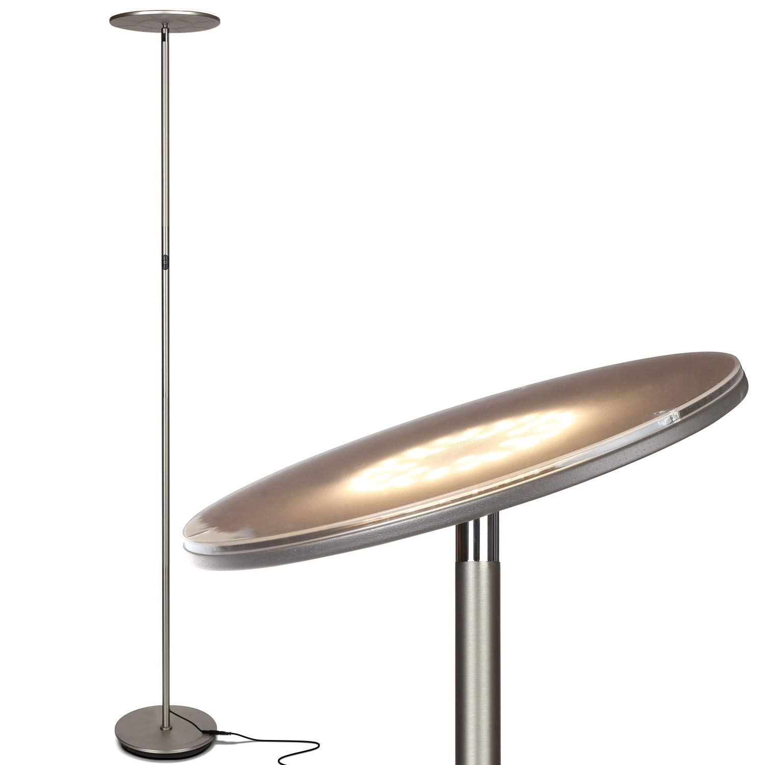 Brightech Sky LED Torchiere Super Bright Floor Lamp - Tall Standing Modern Pole Light for Living Rooms & Offices - Dimmable Uplight for Reading Books in Your Bedroom etc - Brushed Nickel