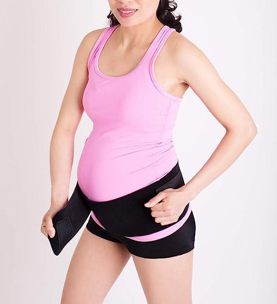 CABEA Baby Belly Band - Sport Pregnancy Postpartum Maternity Belt Abdominal Hip Back Support Black