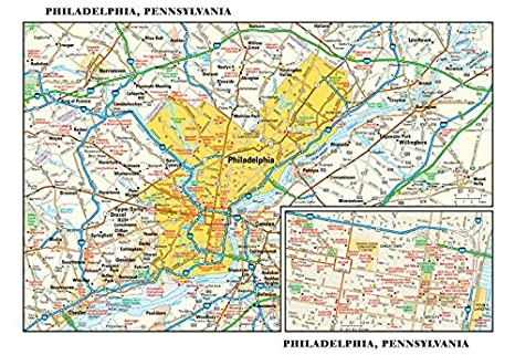 Amazon.com : Philadelphia, Pennsylvania Wall Map - 11.5