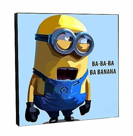 Happy Giftmart Minion Despicable Me Movie Banana Song Pop Art Wooden