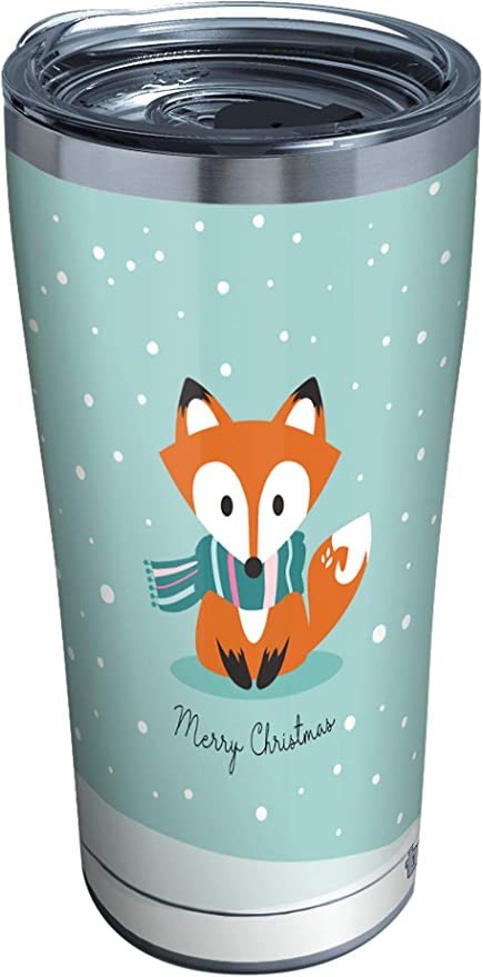 Amazon Com Tervis Christmas Fox Stainless Steel Insulated Tumbler With Clear And Black Hammer Lid 20 Oz Silver Tumblers Water Glasses