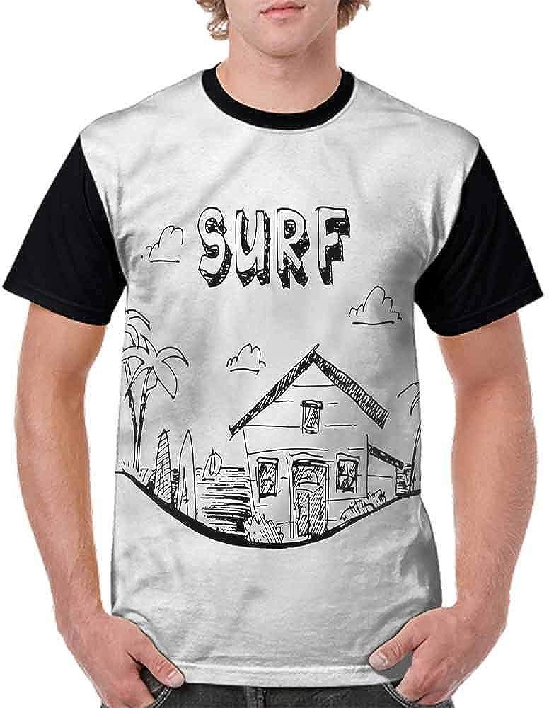BlountDecor Classic T-Shirt,Coconut Tree and Longboard Fashion Personality Customization