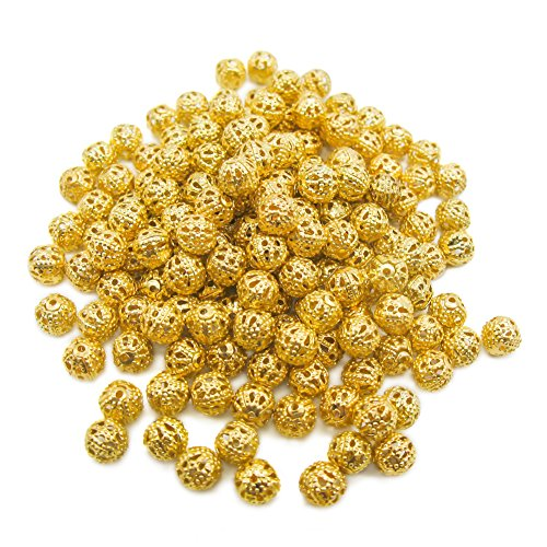 TOAOB 100pcs 6mm Gold Plated Round Filigree Hollow Ball Metal Spacer Beads for DIY Making ()