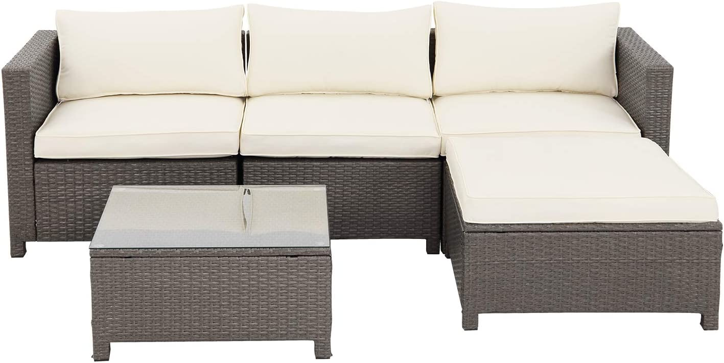 Patio Sofa Furniture Sets 5 Piece, Outdoor PE Wicker Rattan Conversation Sofa Set with Coffee Table, Beige (Gery Rattan)
