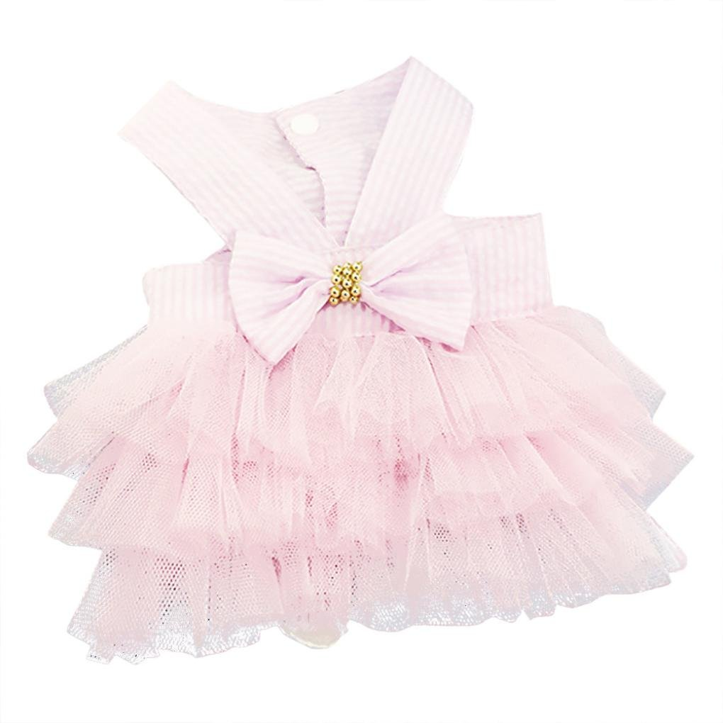 Letdown Puppy Dress, Hot Sale, Bubble Skirt Stripe Lace Bow Princess Dresses for Dog (XS, Pink)