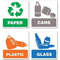 Recycling Paper Cans Plastic Glass Sticker Decal Bin Recycle Eco Friendly Trash