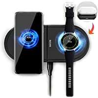 NOIHK Wireless Charger Pad Compatible with Samsung Galaxy Watch 42mm 46mm,2 in 1 Fast Charging Dock Station with USB…