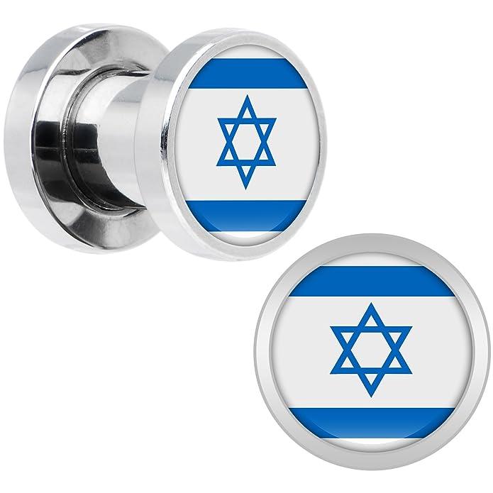 Cuerpo Caramelo Acero Inoxidable Bandera del Israel Dilatador Ajuste Rosca Par 2 Calibrador: Amazon.es: Joyería