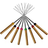 Marshmallow Roasting Sticks ,KEKU Set of 8 Telescoping Rotating Smores Skewers & Hot Dog Fork Kids Camping Campfire Fire Pit Accessories