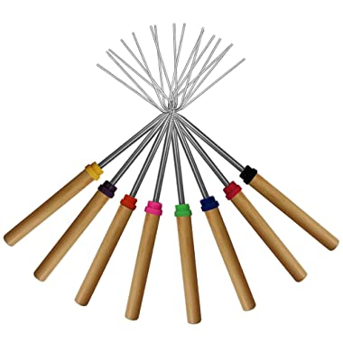 KEKU Marshmallow Roasting Sticks Set of 8 Telescoping Rotating Smores Skewers & Hot Dog Fork Kids Camping Campfire Fire Pit Accessories