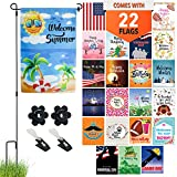 Seasonal Garden Flag Set of 22 – Premium Assortment of Durable 12 Inch x 18 Inch Double Sided Weatherproof Polyester Flags, Includes Flag Pole Stand, 2 Wind Clips and 2 Rubber Stoppers For All Seasons
