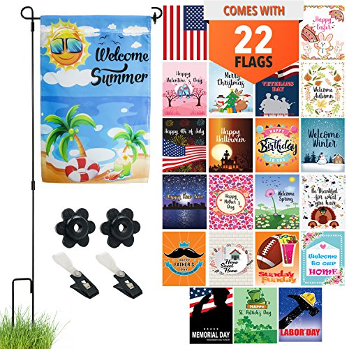 Seasonal Garden Flag Set of 22 - Premium Assortment of Durab