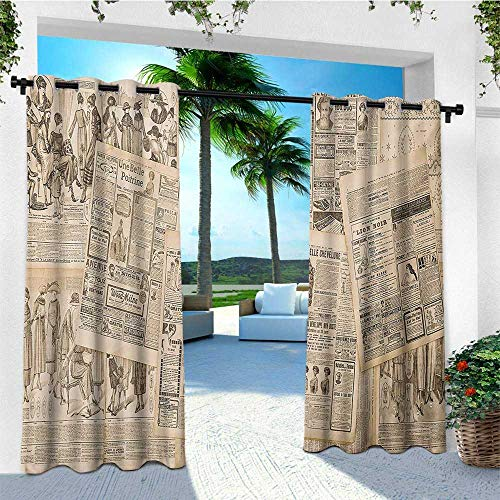 leinuoyi Antique, Outdoor Curtain Panel Design, Newspaper Pages with Advertising and Fashion Magazine Woman Edwardian Publicity Image, Fabric by The Yard W108 x L96 Inch Cream