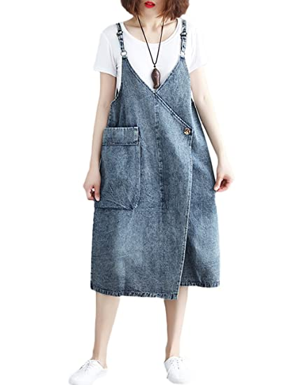 344540b2c0e Amazon.com  Innifer Women Plus Size Loose Casual Strap Jean Pocket Denim  Bib Overall Dress  Clothing