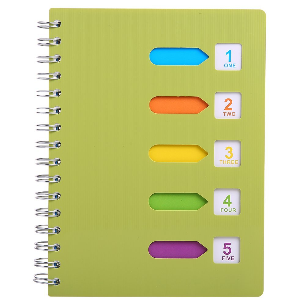 """5 Subject Notebook, A5 Notebooks and Journals Spiral Bund, Wide Ruled, Lab Professional Notepad, Colored Dividers With Tabs, 5.7""""×8.27"""", 240 pages, Hardcover Memo Planner for School Kids Girls Women"""