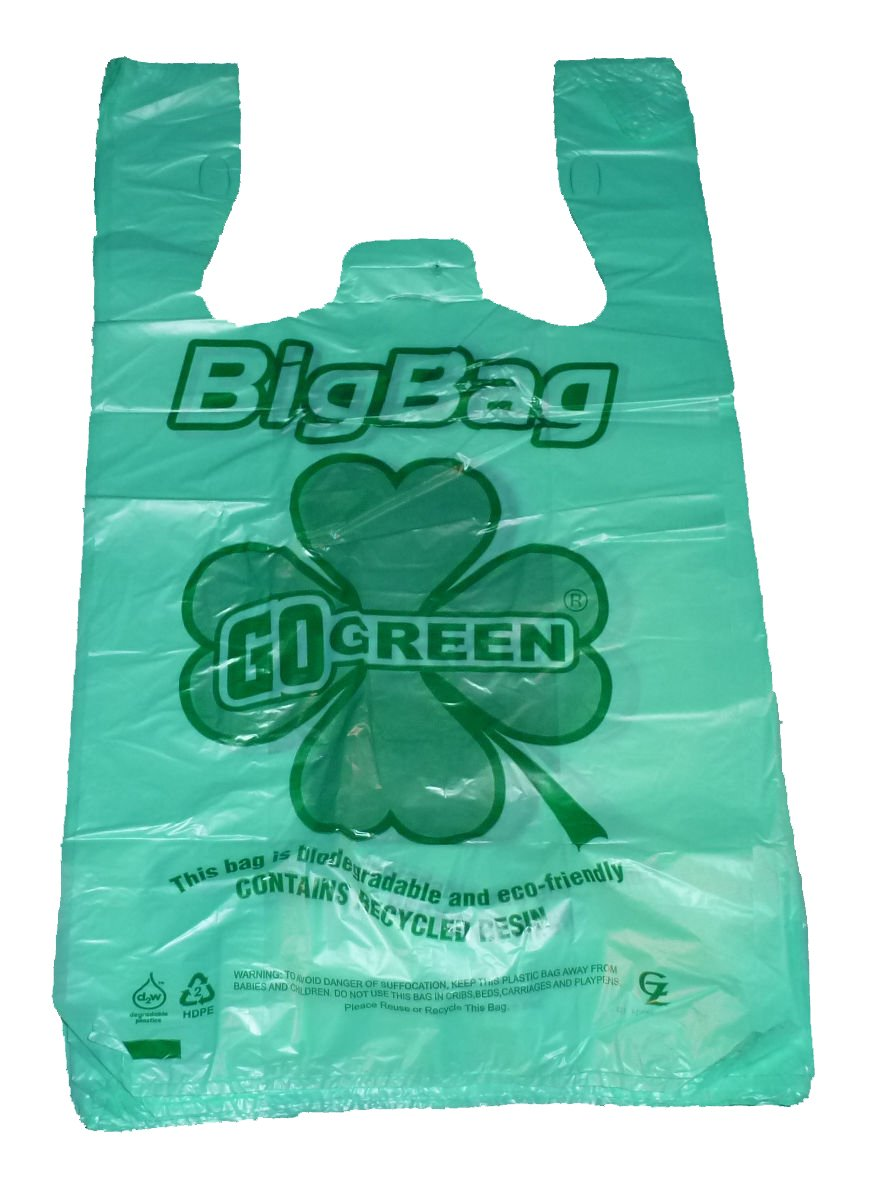 Green Plastic T-shirt Shopping Bags (11x6x21-13mic) - 500 Bags Biodegradable & Recyclable