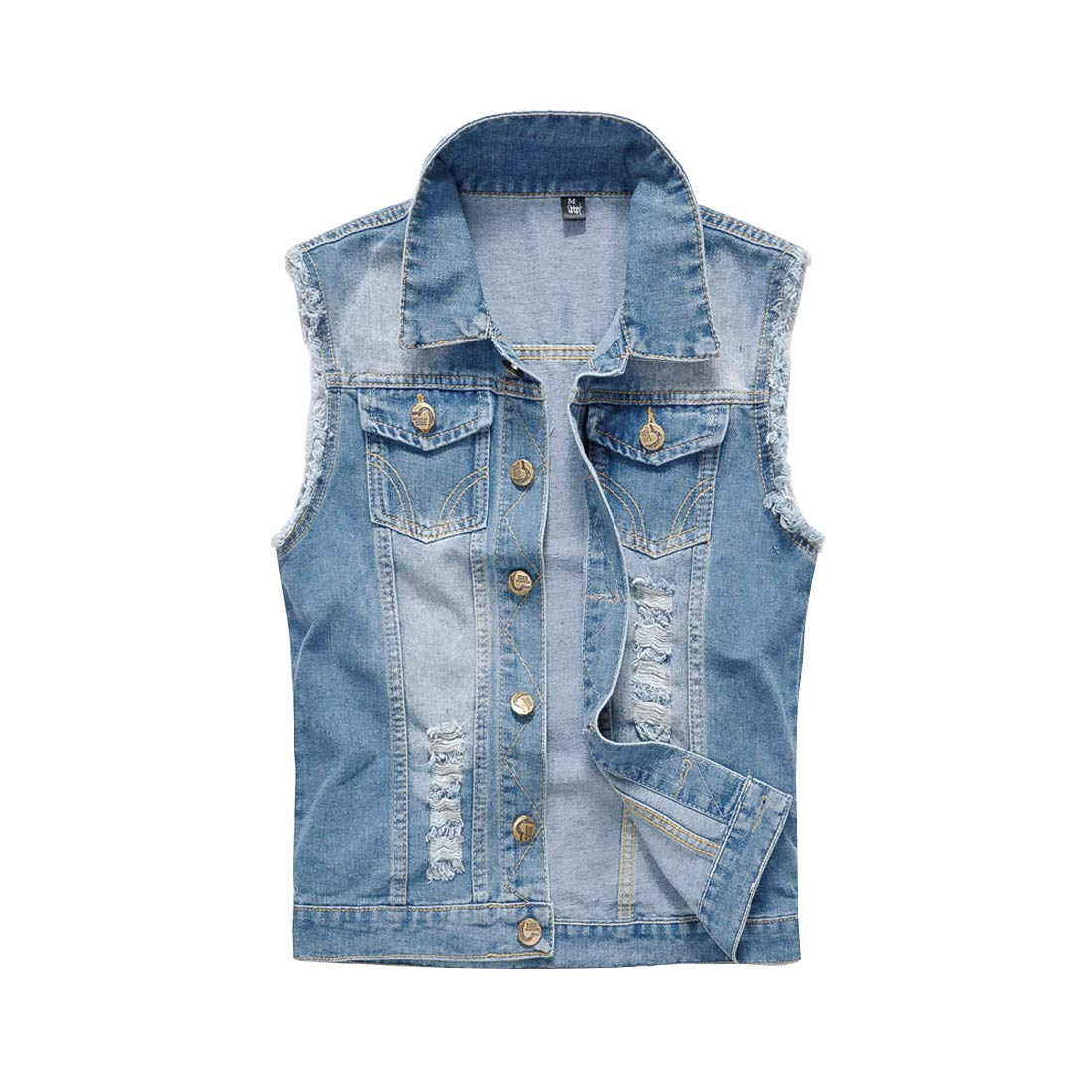 HORZEE Men's Casual Denim Vest Button-Down Trucker Jean Jacket Light Blue, Small by HORZEE