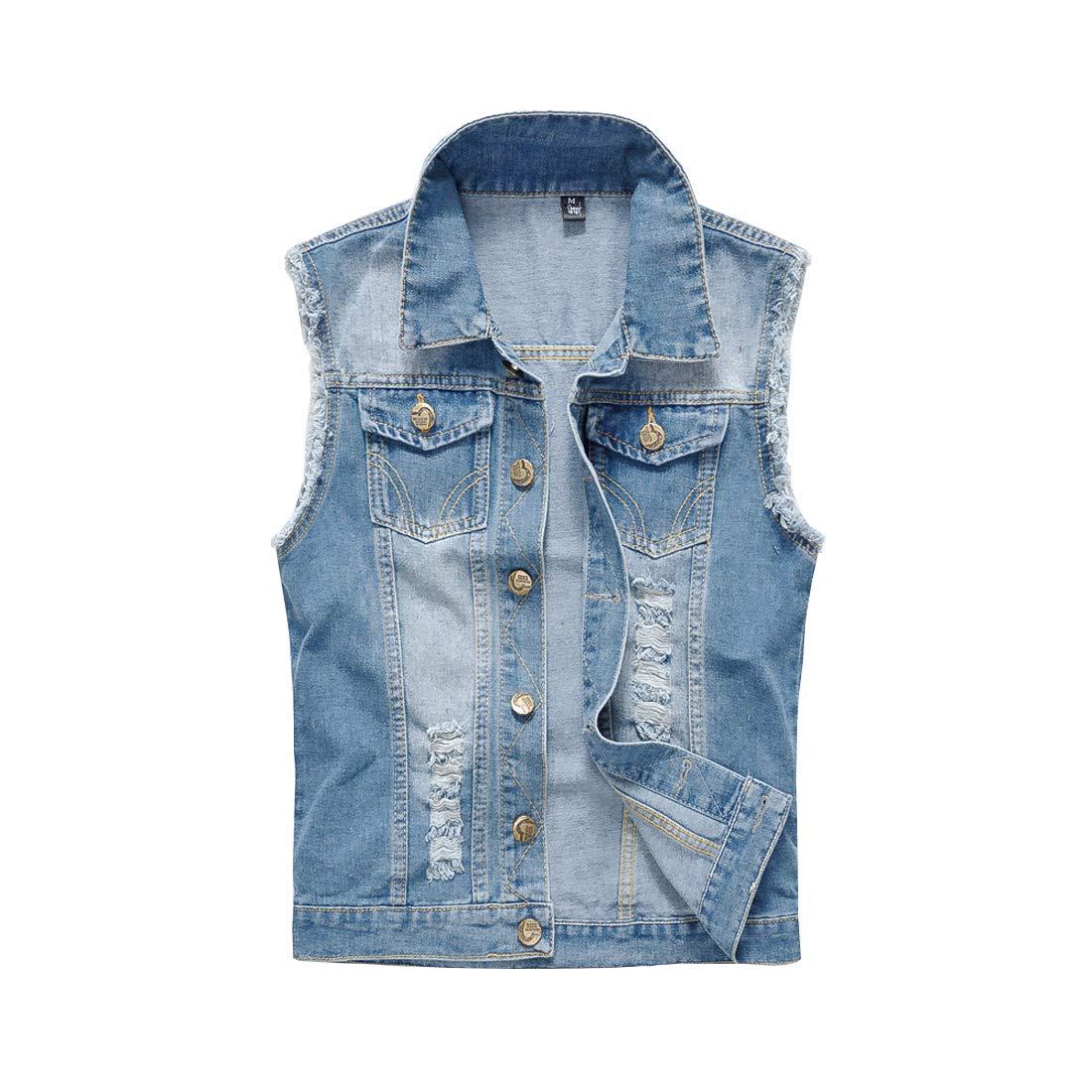 HORZEE Men's Casual Denim Vest Button-Down Trucker Jean Jacket Light Blue, Small by HORZEE