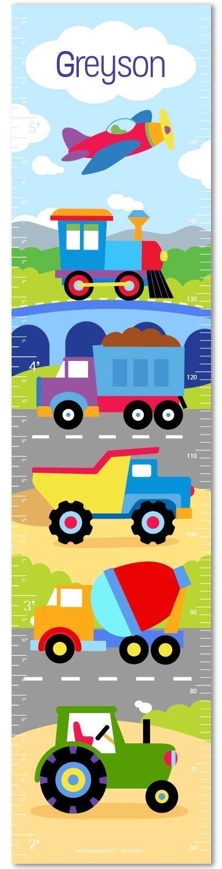 電車、Planes and Trucks PersonalizedキャンバスGrowth Chart by Olive Kids   B001LVL13C