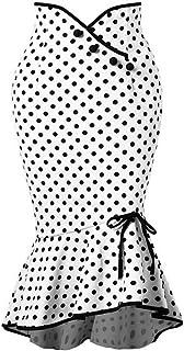 WDBXN Las señoras de la Moda de la Moda empatan la Falda Apretada de la Sirena de la Trompeta con el botón Femenino Elegante