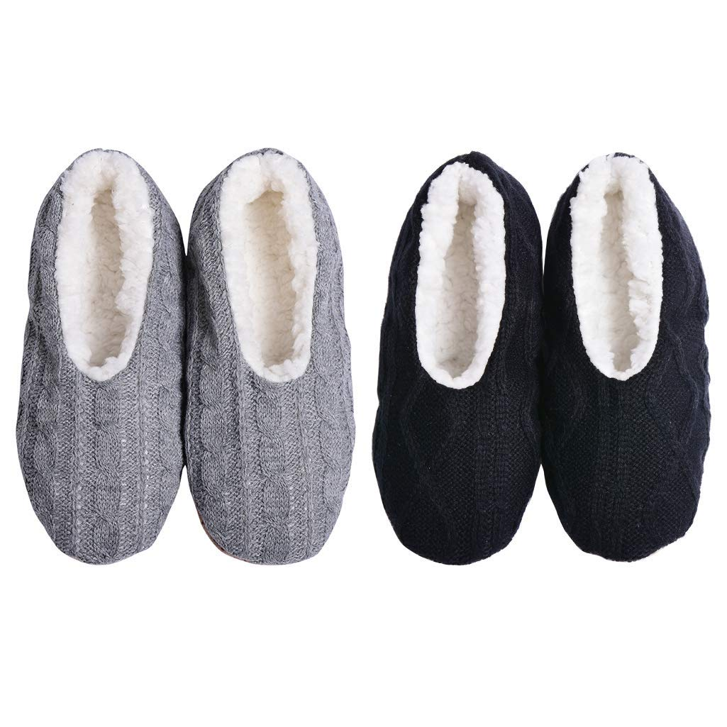 21a3eb622fcc7 Panda Bros Fluffy Slipper Socks with Non Slip Women House Lined Socks Boat  Super Cozy Hospital Slippers