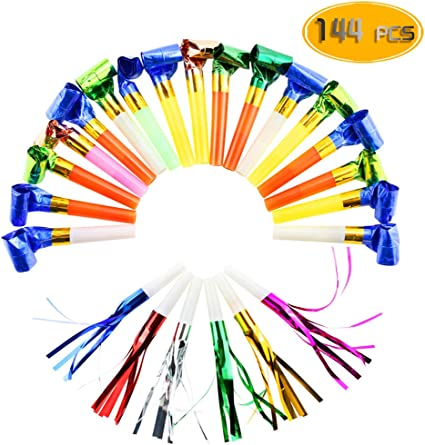 BESTOYARD 18 Pieces Party Trumpets Party Fringe Blower Pipe Noisemaker Toy for Kids Birthday Party Random Color